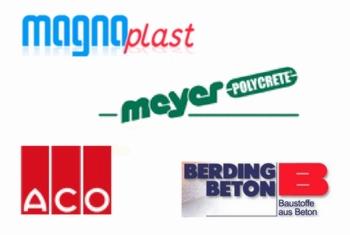 Firmen-Logos: Magnaplast GmbH, Meyer-POLYCRETE GmbH, ACO Tiefbau Vertrieb GmbH, BERDING BETON GmbH
