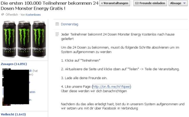 "24 Dosen ""Monster"" gratis!"