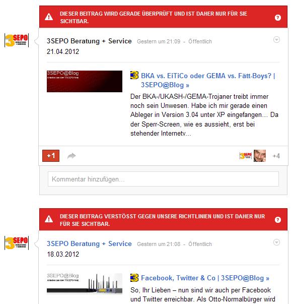 Richtlinienverstoß bei Google+