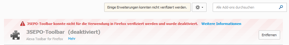 Firefox :: 3SEPO-Toolbar deaktiviert